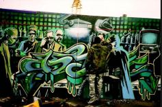 1998:8 - SA - Banksy at work at Walls on fire
