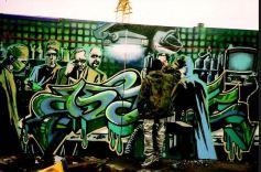 1998:8 - SA - Banksy at work at Walls on fire