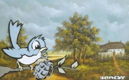 2002:6 - Original - Existencilism - Los Angeles - Bird w grenade - Andipa