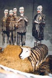 2003:07:18 - Original - concentration camp prisoners w painted sheep - Turf War