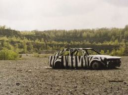 2004 - SA - UK - Somerset - Scuplture - Zebra carwreck- Wall and piece p91