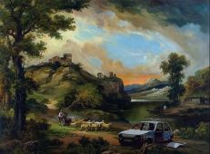 2005:10:15 - Original - Crude Oils - Landscape w Carwreck - paul