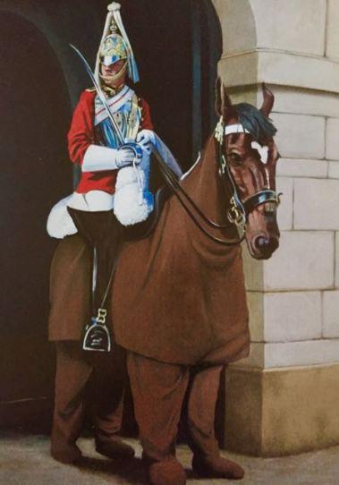 2005:10:18 - Original - Crude oils - Horse w Royal guard- Wall and piece p156
