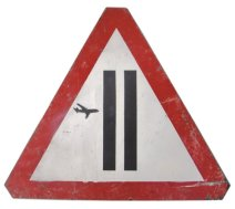 2006 - Original - Warning Sign w plane - spray on steel - Arrested Motion