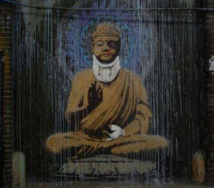 Banksy Buddha at Cans