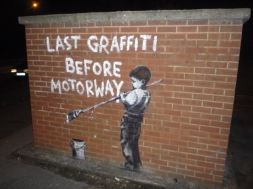 2009:2:28 - SA - London - Last graffiti before motorway - Arrested Motion