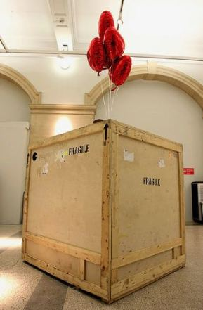 2009:7 - Original - Installation - BvBM - Crated box w balloons - source unknown
