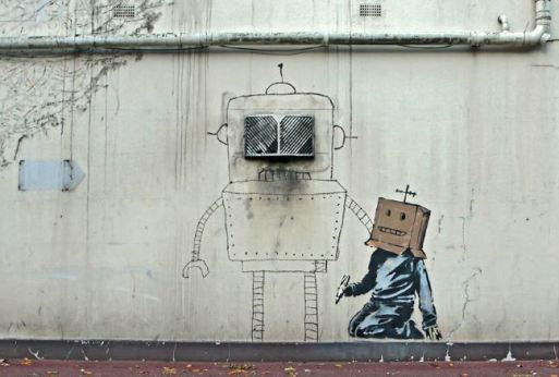 2010:10:11 - SA - UK - Torquay - Boxhead paints robot - Arrested Motion