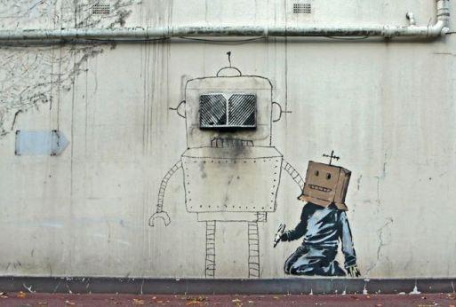 2010:10:11 - SA - UK - Torquay - Boxhead paints robot - Arrested Motion