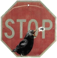 2010:10:15 - Christies - Original - Sign - Stopsign w crow - Spray on aluminium - Arrested Motion