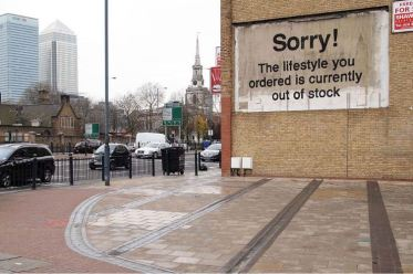 2011:12:10 - London - Canary wharf - Sorry, the lifestyle - Banksyweb