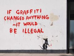 2011:4:25 - London - Mouse w If Graffiti changed anything - Banksyweb