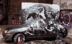 2013:10:9 - New York - BOTI - Sculpture - warhorse w car - Banksyweb