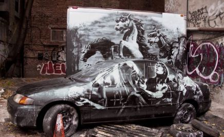 2013:10:9 - New York - BOTI - Sculpture - warhorse w car - Banksyweb