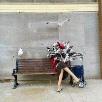 2015 - Original - Dismaland - Sculpture - Woman w a flock of seagulls - RA