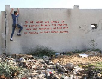 2015:2:25 - SA - Gaza - Inscription - If we wash our hands - Banksyweb