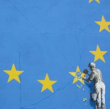 Detail of Banksy Brexit mural in Dover. 7 May 2017