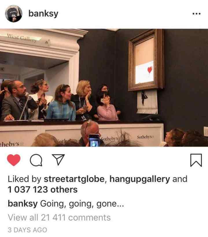 20181005 - Banksy Instagram - Shredding at Sotheby