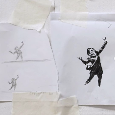 20200221 - Original - sketch 1 for girl w slingshot - Banksy Instagram