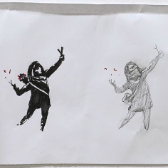 20200221 - Original - sketch 2 for girl w slingshot - Banksy