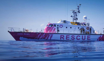 Banksy rescue boat Louise Michel. Photo Ruben Neugebauer